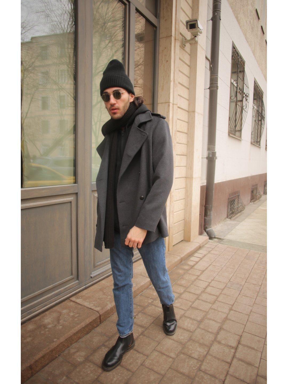 Демисезонное двубортное пальто мужского кроя на пуговицах_3