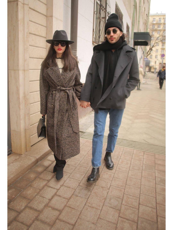 Демисезонное пальто ёлочка тёмная с английским воротником_2