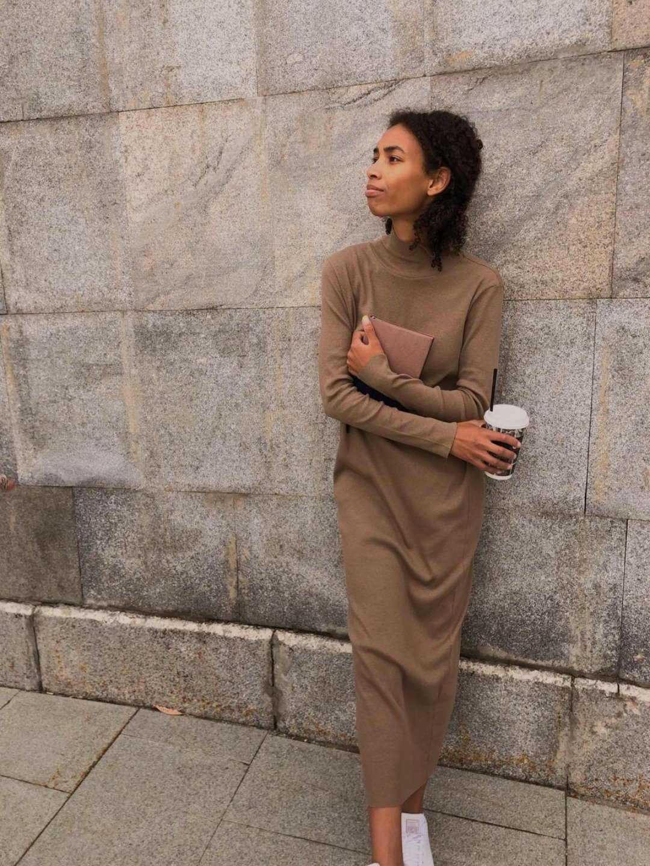 Платье-лапша в кофейном цвете_4