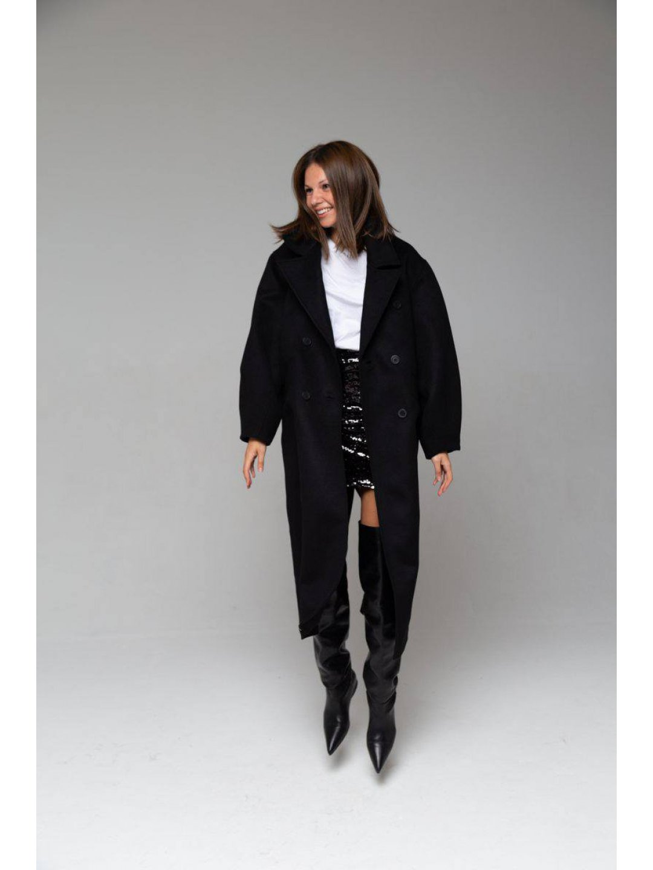 Пальто-кокон в чёрном цвете_0