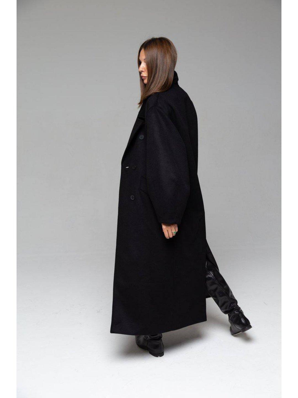 Пальто-кокон в чёрном цвете_2
