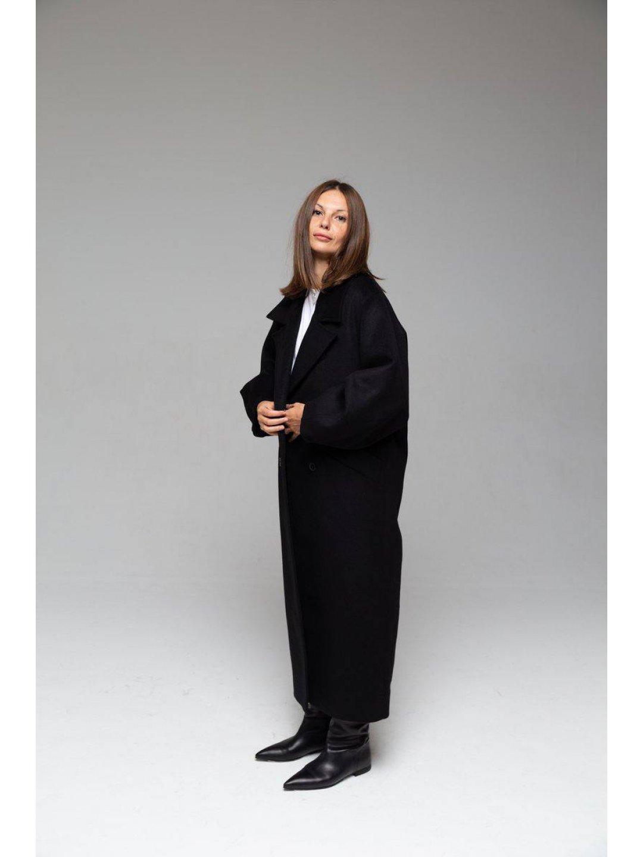 Пальто-кокон в чёрном цвете_3