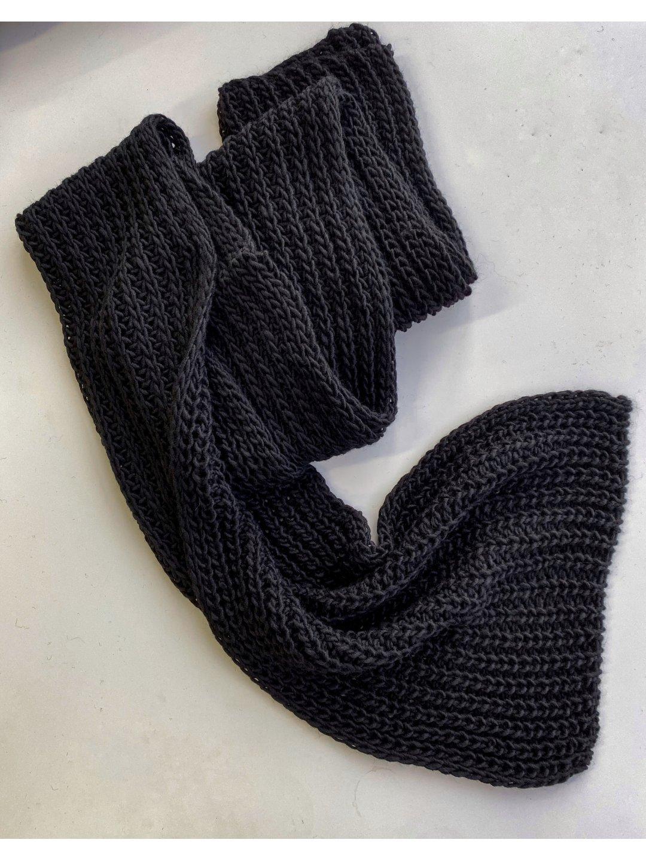 Шарф длинный в чёрном цвете_3