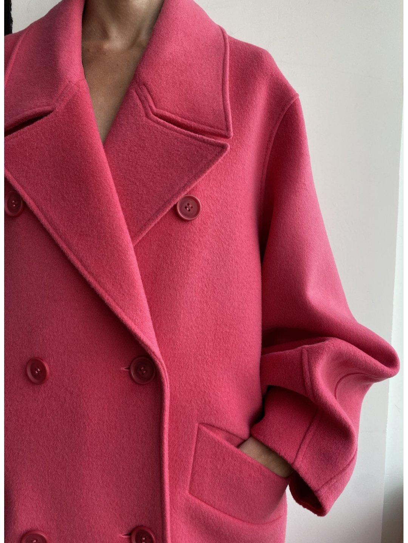 Пальто - кокон в розовом цвете_0