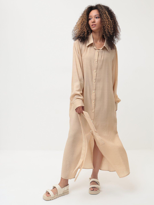 Платье-рубашка в бежевом цвете_2