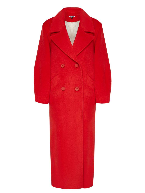 Пальто-кокон в красном цвете_0