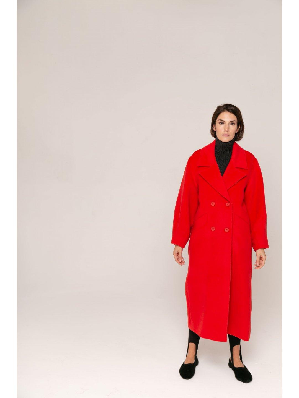 Пальто-кокон в красном цвете_2