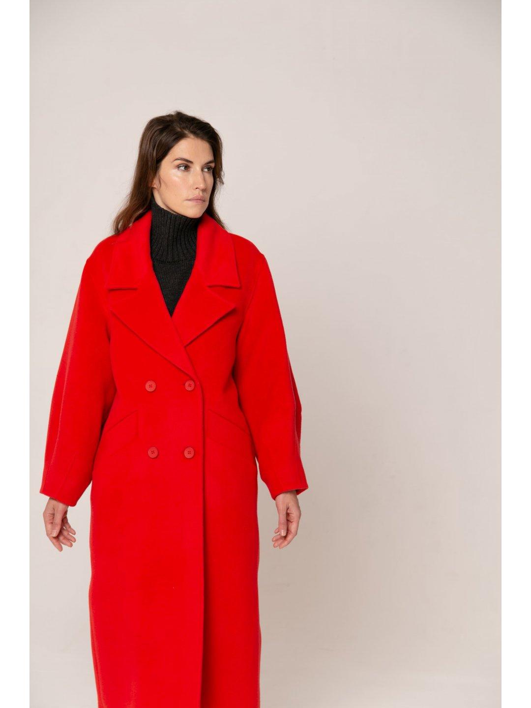 Пальто-кокон в красном цвете_3