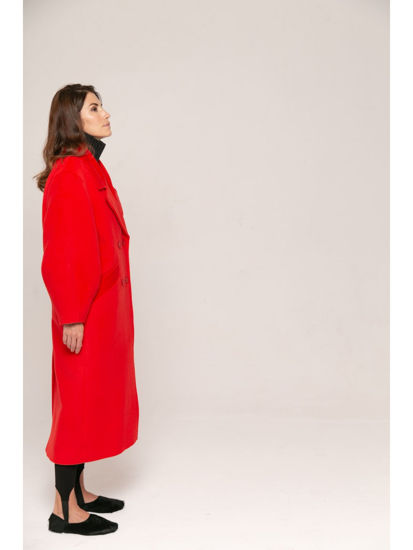 Пальто-кокон в красном цвете_4