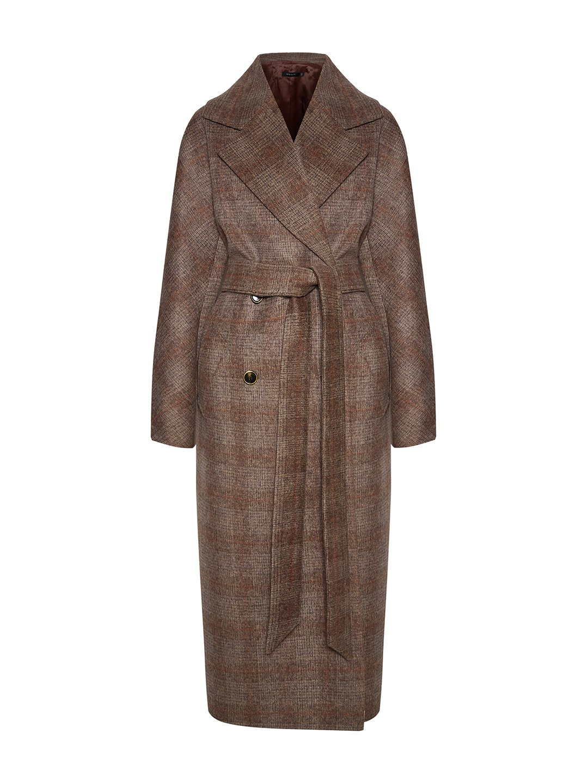 Демисезонное пальто в клетку с английским воротником_0