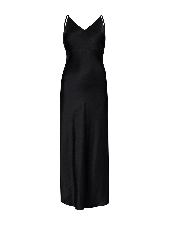 Платье-комбинация из шёлка в чёрном цвете_0