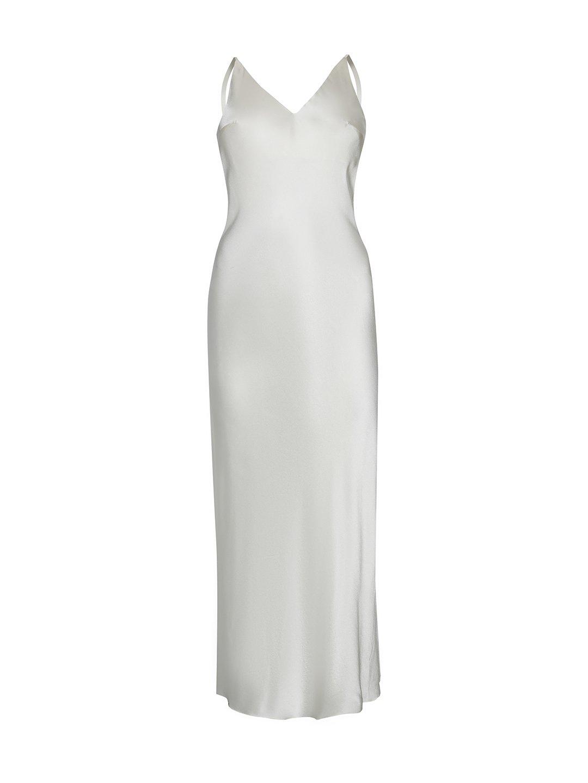 Платье-комбинация из шёлка белого цвета_0