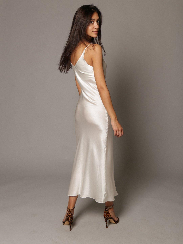 Платье-комбинация из шёлка белого цвета_2