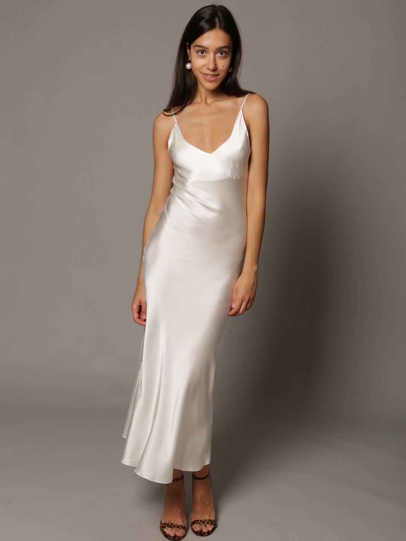 Платье-комбинация из шёлка белого цвета_4