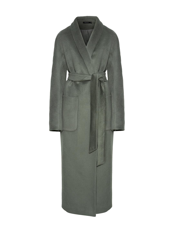 Демисезонное пальто на запах в цвете полынь_0