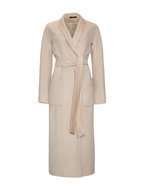 Демисезонное пальто на запах в кремовом цвете_0