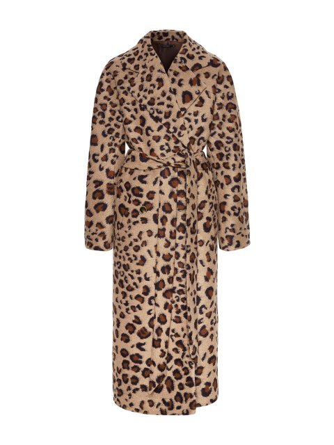 Леопардовое пальто с английским воротником