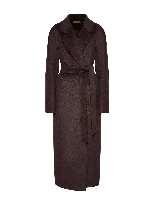 Утепленное пальто с английским воротником в цвете шоколад_0