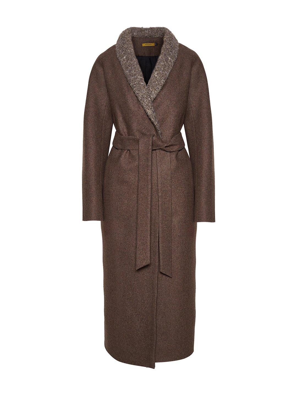 Утеплённое пальто c меховым воротником в цвете табак_0