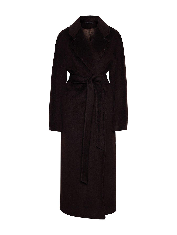 Утеплённое пальто c английским воротником в цвете горький шоколад_0
