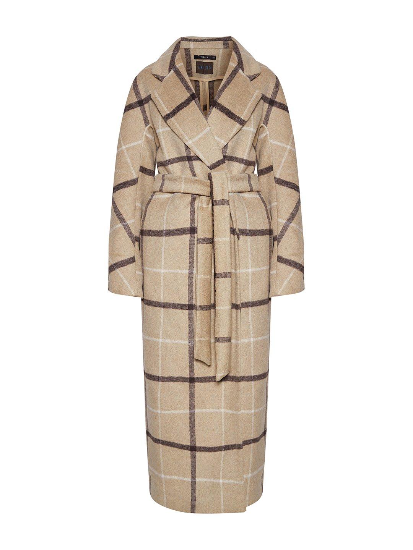 Демисезонное пальто в бежевую клетку с английским воротником_0