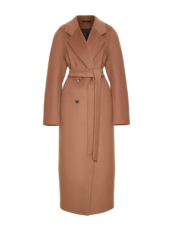 Утеплённое двубортное пальто в цвете кэмел_0