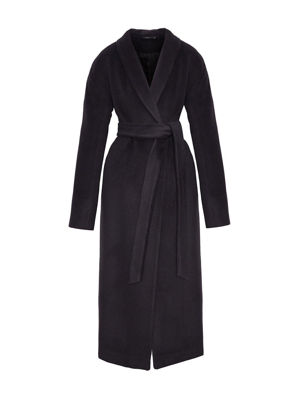 Утеплённое пальто на кнопках в черничном цвете_0