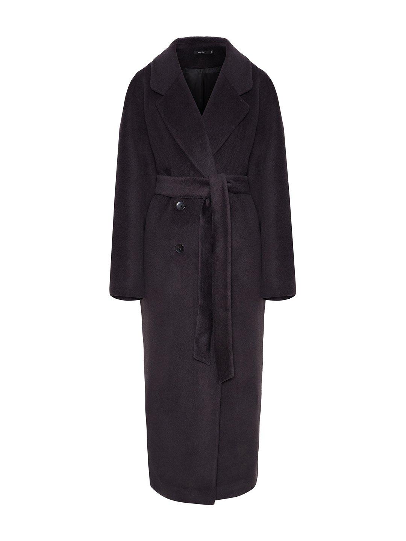 Утеплённое двубортное пальто в черничном цвете_0