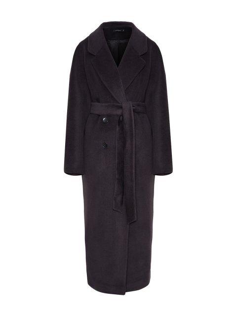 Двубортное  пальто в черничном цвете