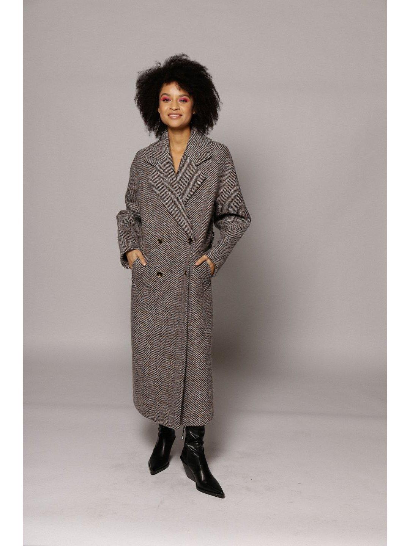 Демисезонное пальто ёлочка светлая с английским воротником_1