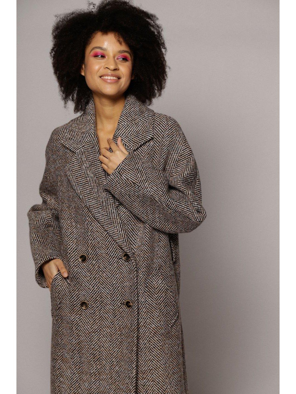 Демисезонное пальто ёлочка светлая с английским воротником_2