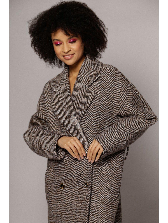 Демисезонное пальто ёлочка светлая с английским воротником_3