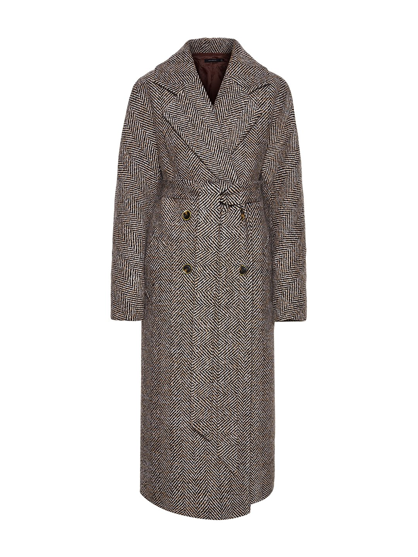 Демисезонное пальто ёлочка светлая с английским воротником_0