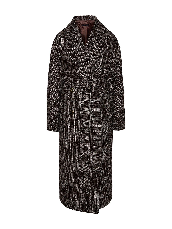 Демисезонное пальто ёлочка тёмная с английским воротником_0