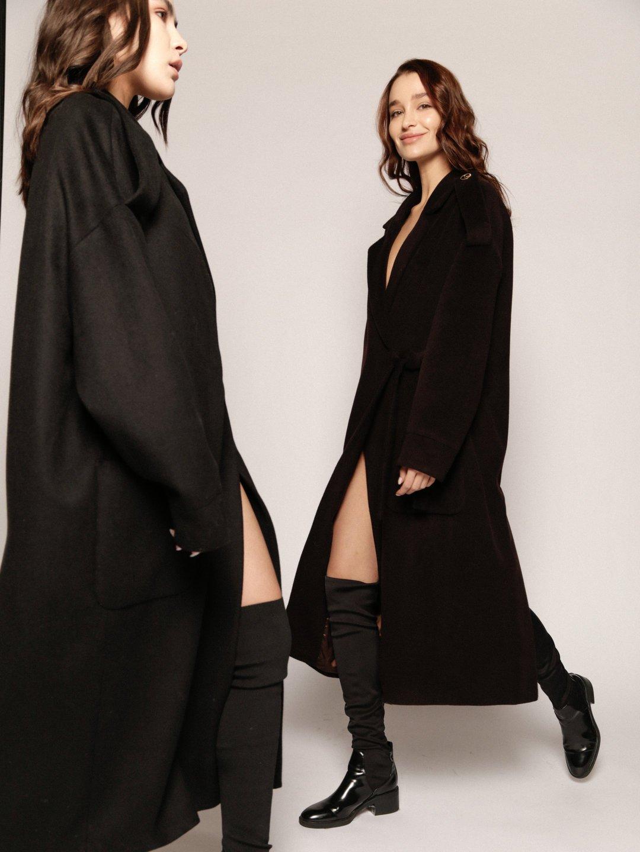 Демисезонное пальто модель номер 8 в чёрном цвете_1