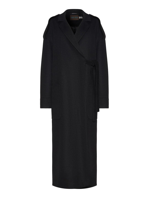Демисезонное пальто модель номер 8 в чёрном цвете_0