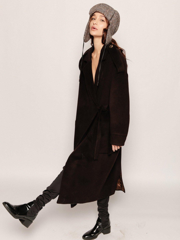 Демисезонное пальто модель номер 8 в цвете горький шоколад_2