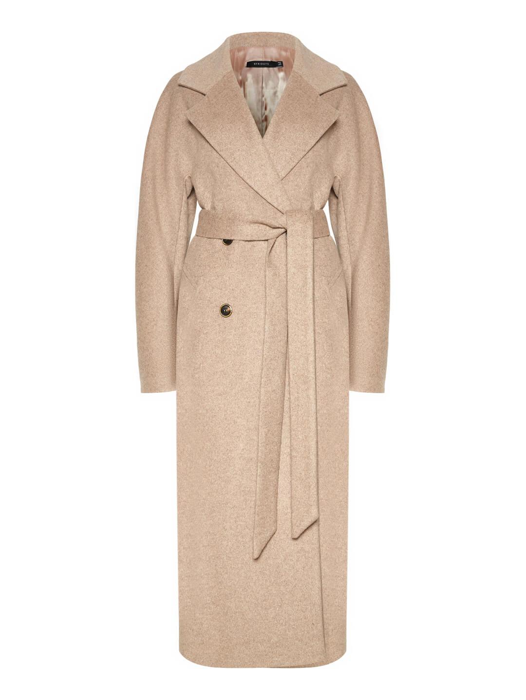 Демисезонное пальто с английским воротником в пшеничном цвете_0