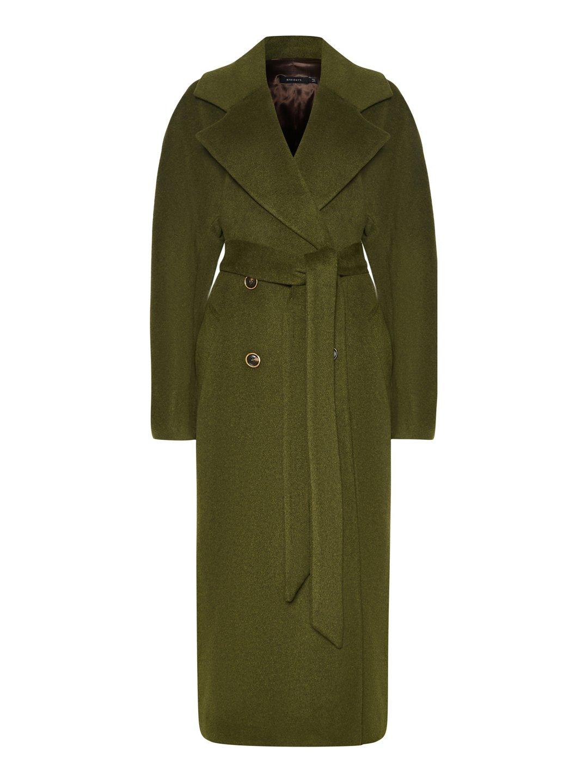 Демисезонное пальто с английским воротником в зеленом цвете_0