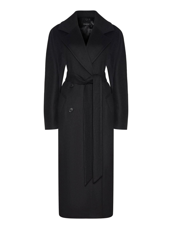 Демисезонное пальто с английским воротником в черном цвете_0