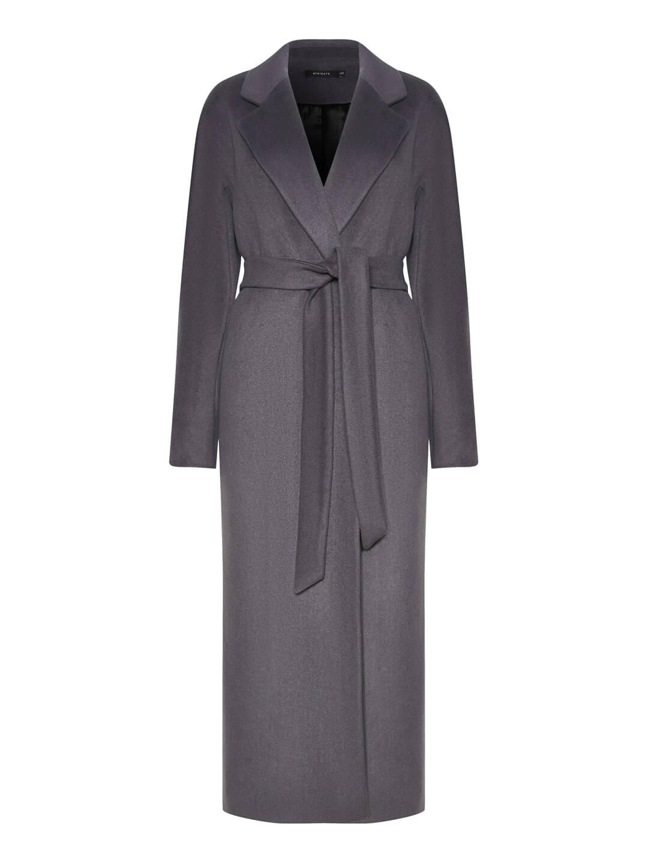 Утеплённое пальто с английским воротником в цвете Дым_0