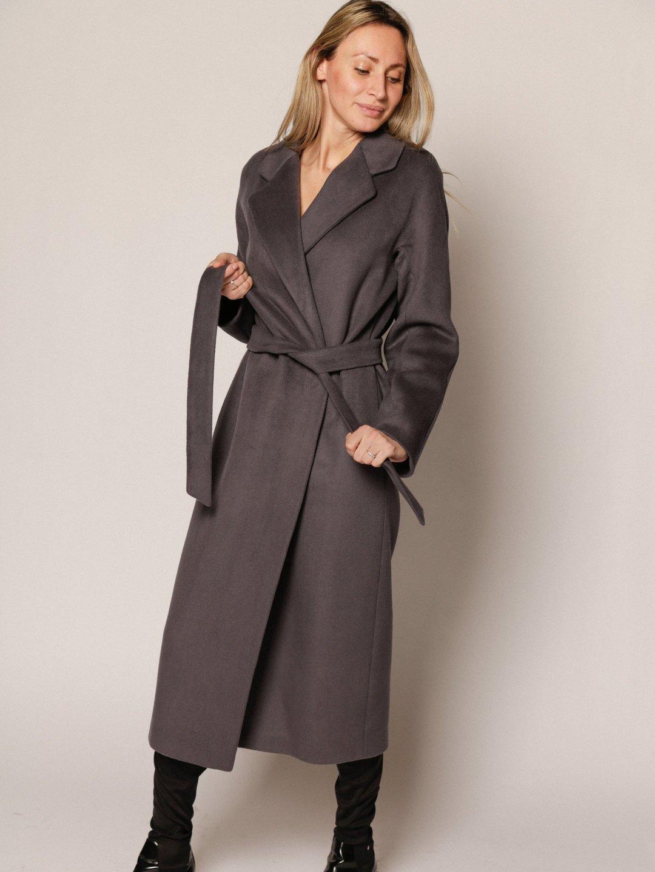 Утеплённое пальто с английским воротником в цвете Дым_1