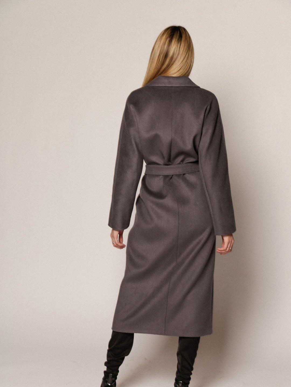 Утеплённое пальто с английским воротником в цвете Дым_2