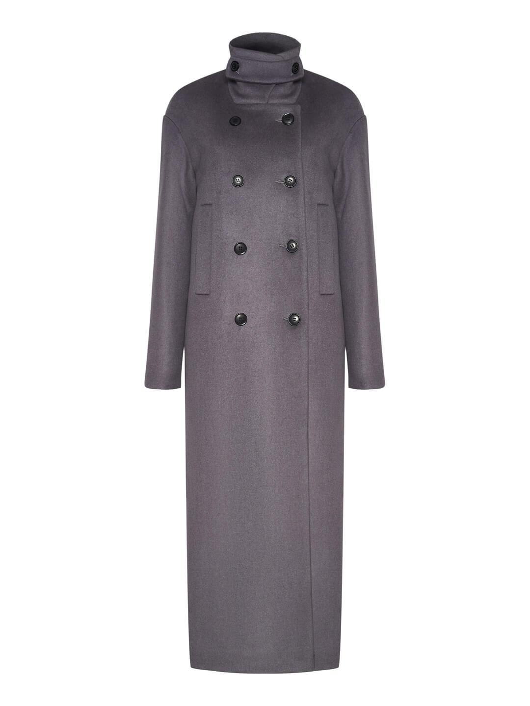 Утеплённое пальто с хлястиком в цвете дым_0