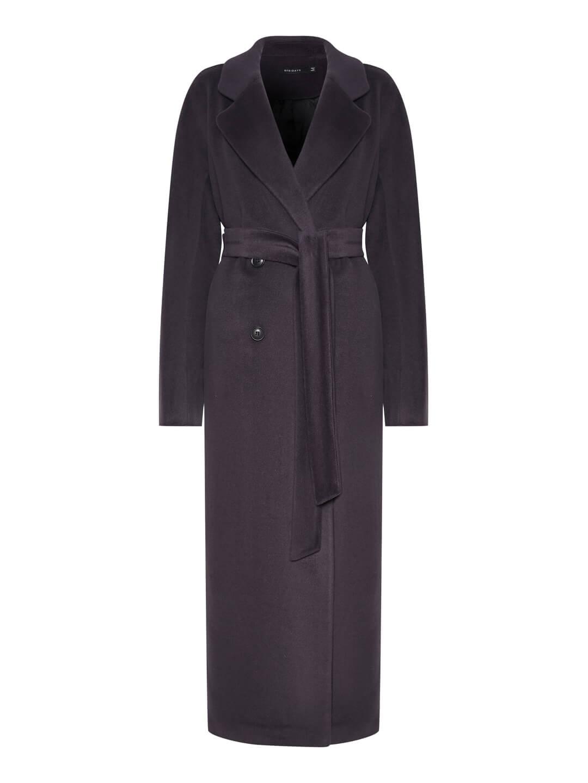 Утеплённое двубортное пальто с английским воротником в цвете Туман_0