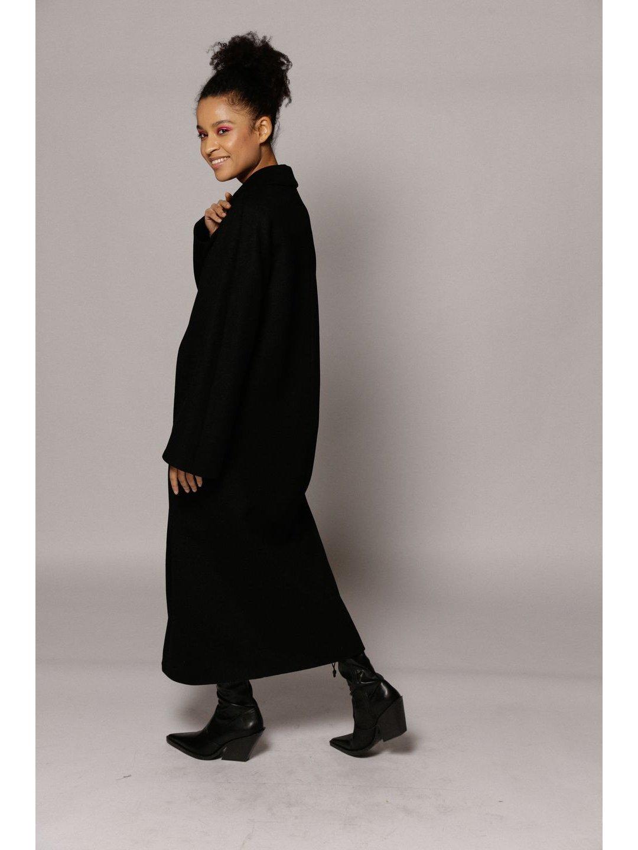 Демисезонное двубортное пальто с накладными карманами в чёрном цвете_3