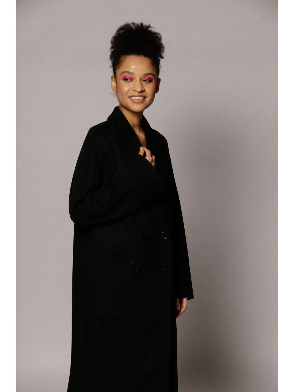 Демисезонное двубортное пальто с накладными карманами в чёрном цвете_4