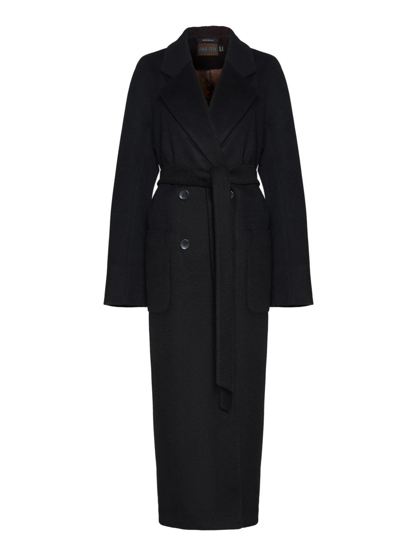 Демисезонное двубортное пальто с накладными карманами в чёрном цвете_0