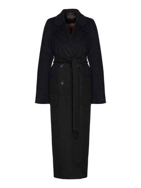 Двубортное пальто с накладными карманами