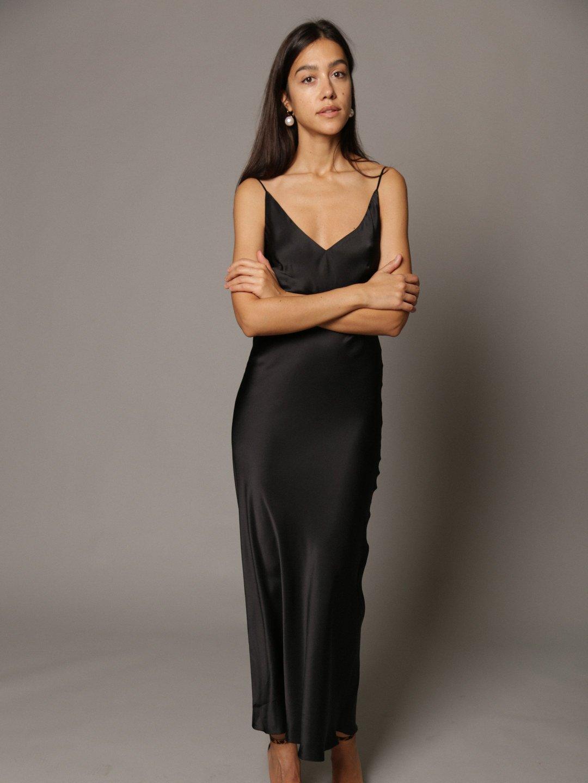 Платье-комбинация из шёлка в чёрном цвете_1
